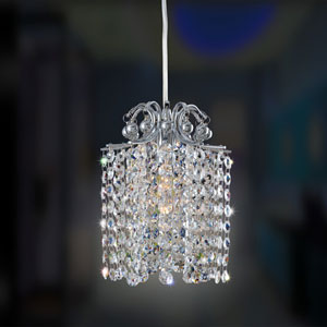 Milieu Mini Round Pendant Chrome One-Light Mini Pendant with Swarovski Strass Clear Crystal