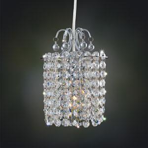 Milieu Chrome One-Light Mini Pendant with Firenze Crystal Blue Crystal