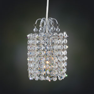 Milieu Chrome One-Light Mini Pendant with Firenze Jet Black Crystal