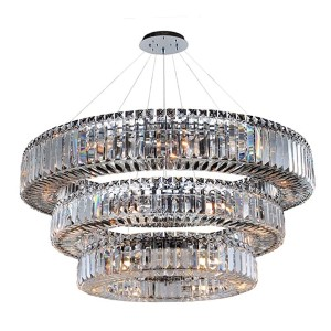 Rondelle Chrome 39-Light Three Tier Round Drum Pendant