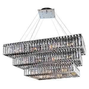 Baguette Chrome 34-Light Rectangular Three Tier Drum Pendant