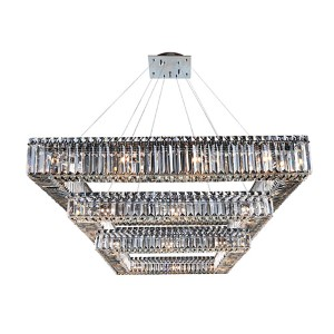 Quadro Chrome 36-Light Square Three Tier Drum Pendant