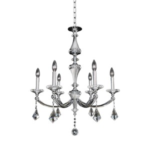 Floridia Polished Chrome Six-Light 27-Inch Wide Chandelier with Firenze Clear Crystal