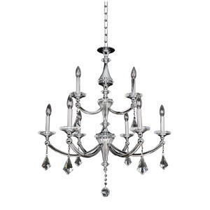 Floridia Polished Chrome Nine-Light Two Tier Chandelier
