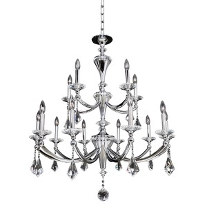 Floridia Polished Chrome 15-Light Two Tier Chandelier with Firenze Clear Crystal