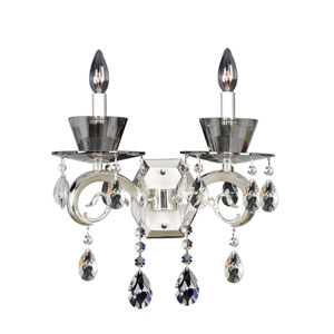 Locatelli Two-Tone Silver Two-Light Sconce with Swarovski Strass Clear Crystal
