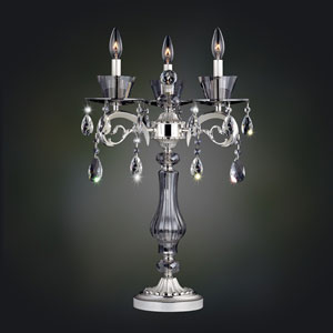 Locatelli Two-Tone Silver Three-Light Table Lamp with Swarovski Strass Clear Crystal