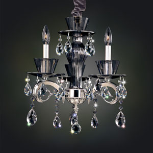 Locatelli Two-Tone Silver Three-Light Chandelier with Firenze Clear Crystal