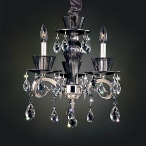 Locatelli Two-Tone Silver Three-Light Chandelier with Swarovski Strass Clear Crystal