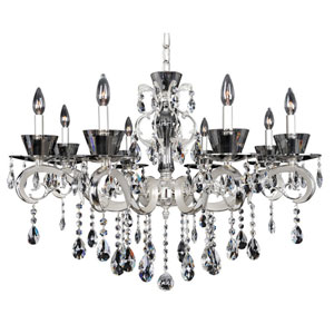 Locatelli Two-Tone Silver Eight-Light Chandelier with Swarovski Strass Clear Crystal