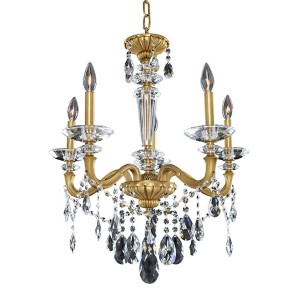Jolivet Historic Brass Five-Light 23.5-Inch Wide Chandelier with Firenze Clear Crystal