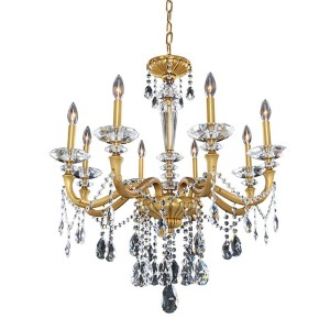 Jolivet Historic Brass Eight-Light Chandelier with Firenze Clear Crystal