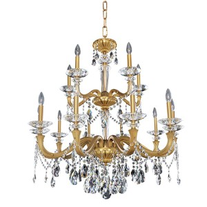 Jolivet Historic Brass 15-Light 35.5-Inch Wide Chandelier with Firenze Clear Crystal