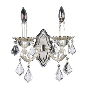 Rafael Two-Tone Silver Two-Light Wall Bracket with Firenze Clear Crystal