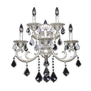Rafael Two-Tone Silver Five-Light Wall Bracket with Firenze Clear Crystal
