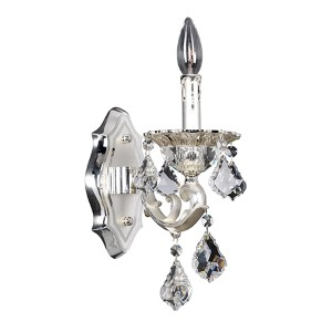 Rafael Two-Tone Silver One-Light Wall Bracket with Firenze Clear Crystal