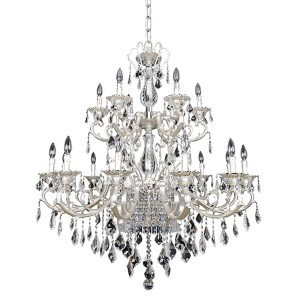 Rafael Two-Tone Silver 21-Light Two Tier Chandelier with Firenze Clear Crystal