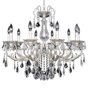 Rafael Two-Tone Silver 10-Light Chandelier with Firenze Clear Crystal