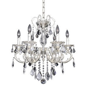 Rafael Two-Tone Silver Six-Light Chandelier with Firenze Clear Crystal