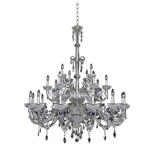 La Valle Chrome 25-Light 51-Inch Wide Chandelier with Firenze Clear Crystal