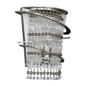 Giovanni Brushed Nickel One-Light Wall Bracket with Firenze Clear Crystal
