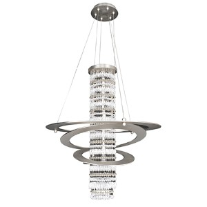 Giovanni Brushed Nickel Five-Light Round Pendant with Firenze Clear Crystal
