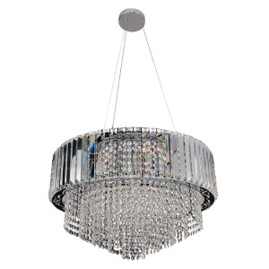 Adaliz Chrome 12-Light Round Pendant with Firenze Clear Crystal