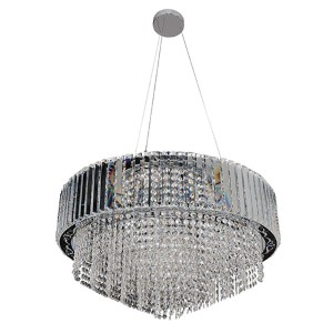 Adaliz Chrome 16-Light Round Pendant with Firenze Clear Crystal