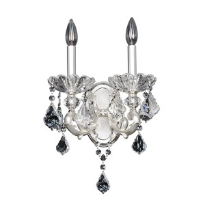 Praetorius Two-Tone Silver Two-Light Wall Bracket with Firenze Clear Crystal