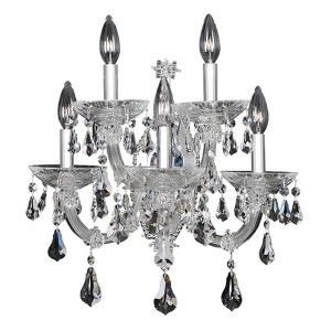 Brahms Chrome Five-Light Wall Bracket with Firenze Clear Crystal