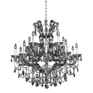 Brahms Chrome 15-Light Chandelier with Firenze Smoked Fleet Argentine Crystal