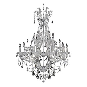 Brahms Chrome 24-Light Chandelier with Firenze Clear Crystal