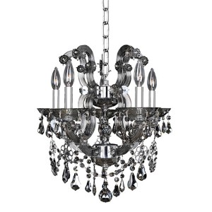 Brahms Chrome Five-Light Mini Chandelier with Firenze Smoked Fleet Argentine Crystal