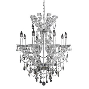 Brahms Chrome Eight-Light Chandelier with Firenze Clear Crystal