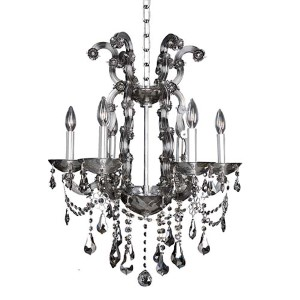 Brahms Chrome Six-Light Chandelier with Firenze Smoked Fleet Argentine Crystal