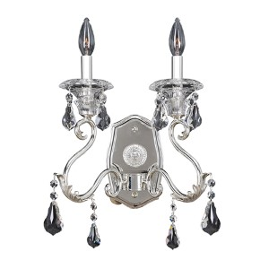 Haydn Silver Two-Light Wall Bracket with Firenze Clear Crystal