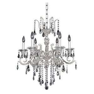 Haydn Silver Six-Light Chandelier with Firenze Clear Crystal