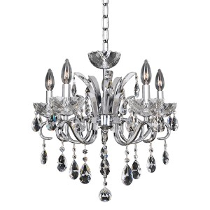 Catalani Chrome Five-Light 20-Inch Wide Chandelier with Firenze Clear Crystal