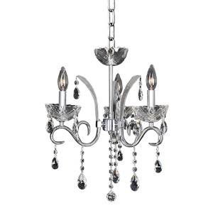 Catalani Chrome Three-Light 16-Inch Wide Mini Chandelier with Firenze Clear Crystal