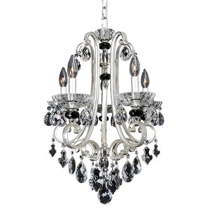 Bedetti Two-Tone Silver Five-Light 18-Inch Wide Mini Chandelier with Firenze Clear Crystal