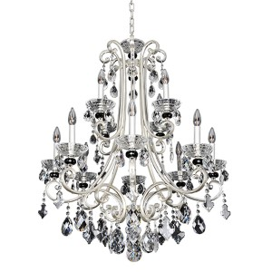 Bedetti Two-Tone Silver 12-Light 32-Inch Wide Chandelier with Firenze Clear Crystal
