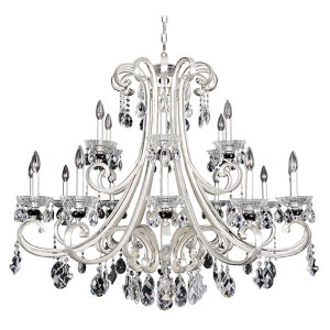 Bedetti Two-Tone Silver 18-Light 42-Inch Wide Chandelier with Firenze Clear Crystal