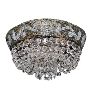 Romanov Antique Silver Leaf Five-Light Flush Mount with Firenze Clear Crystal