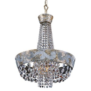 Romanov Antique Silver Leaf LED 18-Inch Wide Mini Chandelier with Firenze Clear Crystal
