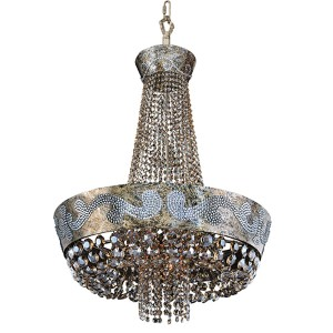 Romanov Antique Silver Leaf LED 24-Inch Wide Chandelier with Firenze Fleet Gold Crystal