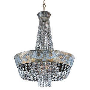 Romanov Antique Silver Leaf LED 30-Inch Wide Chandelier with Firenze Clear Crystal