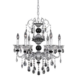 Faure Chrome Four-Light Chandelier with Firenze Clear Crystal