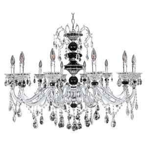 Faure Chrome 10-Light Chandelier with Firenze Clear Crystal