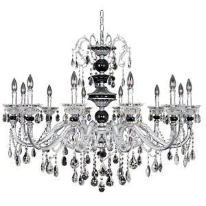 Faure Chrome 12-Light Chandelier with Firenze Clear Crystal