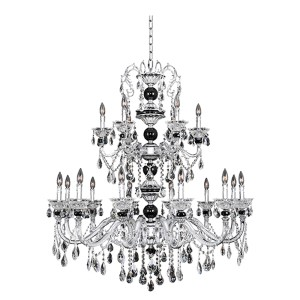 Faure Chrome 18-Light Chandelier with Firenze Clear Crystal